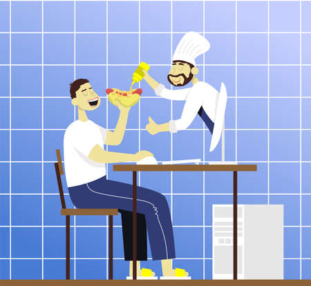 Chef from monitor watering mustard into a hot dog. Color vector flat cartoon icon. Concept for food blogger and internet lesson.