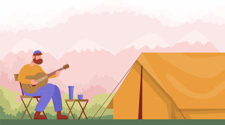 Man sitting on camping chairs and plays the guitar near the tent. Concept for hiking outdoors. Side view. Color cartoon flat vector illustration.
