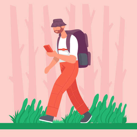 Guy goes with a backpack in with a phone in his hands on a hike. Concept for hiking outdoors. Color cartoon flat vector illustration. 向量圖像