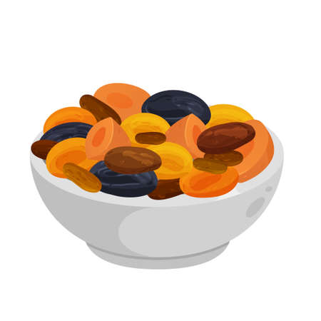 tsimmes - jewish traditional food. Vector flat color icon isolated on white Çizim