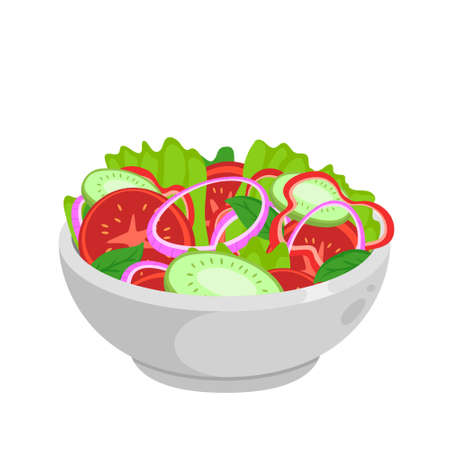 Salad - jewish traditional food. Vector flat color icon isolated on white.