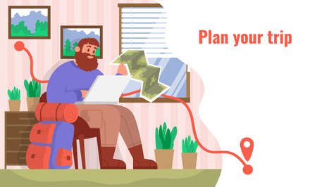 Traveler sits at home and plans his trip. Concept for hiking outdoors. Color cartoon flat vector illustration.