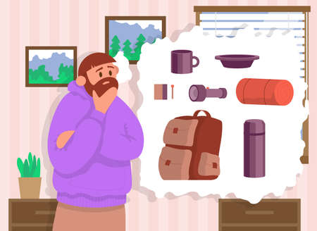 Traveler sits at home and thinks what to take with him on a hike. Concept for hiking outdoors. Color cartoon flat vector illustration.