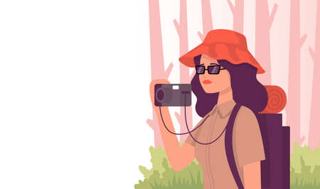 Tourist with a camera in the forest. Color vector flat cartoon icon. Concept for travel blogger. Vectores
