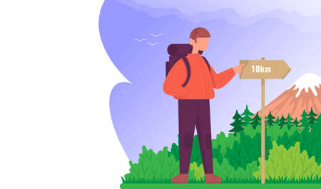 Tourist is looking at the signpost. Concept for hiking outdoors. Color cartoon flat vector illustration. Ilustração