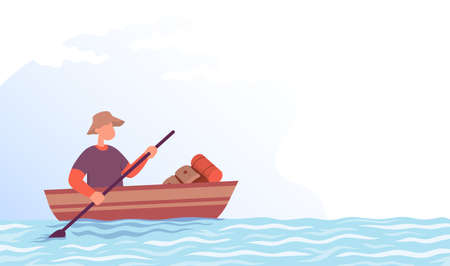 Tourist is sailing in a boat. Lifestyle concept outdoor activity. Color cartoon flat vector illustration.