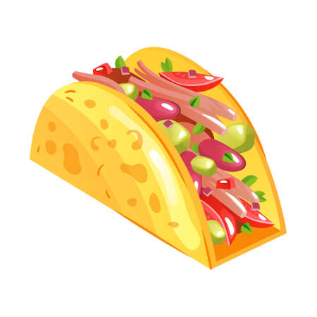 Taco - mexican traditional food. Vector flat color icon.