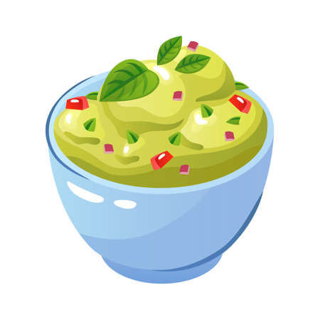 Quacamole in bowl - mexican traditional food. Vector flat color icon. Ilustração