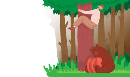 Tourist climbed a tree from a bear, a animal sits under a tree with a backpack. Cartoon vector illustration.