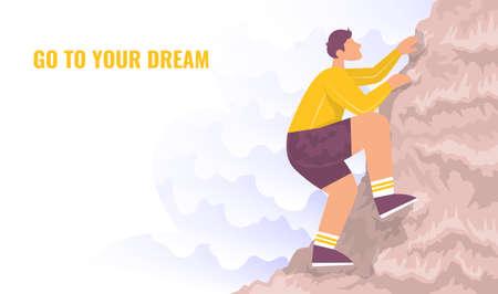 Climber climbs a mountain. Cartoon vector illustration.