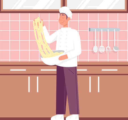 Chef preparing pizza dough rolling with hands. Flat vector color cartoon icon