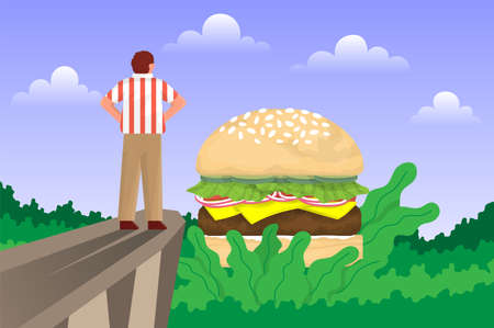 Man admiring hamburger burger. Vector flat illustration Illustration