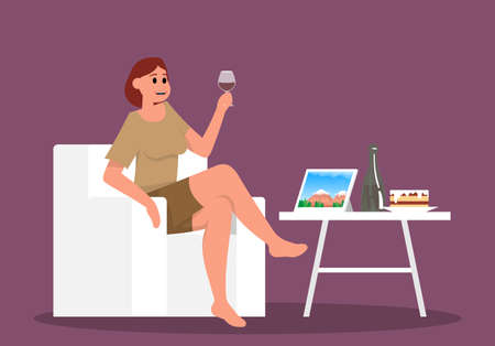 Woman looking at the tablet with nature view and drink glass wine. Stock Illustratie