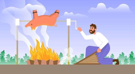 Man roasts a whole pig over a bonfire. Cartoon vector illustration.