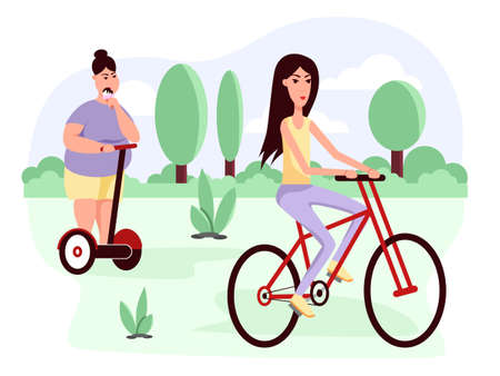 Slim and fat womans ride scooter and bike. Flat vector color cartoon icon