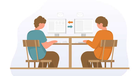 Businessmans sitting on office chair at a desk. They looking at the monitor and typing on keyboard. Color vector cartoon illustration. Concept for business team solution in partnership. Back view