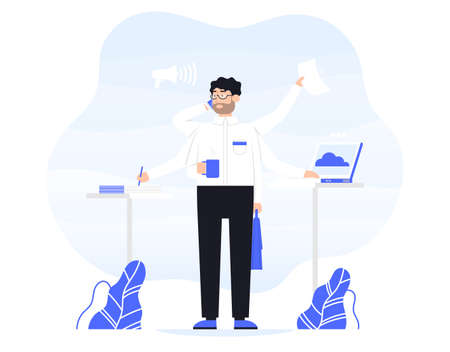 businessman does several things at once time. He is holding bag, drink coffee, talk on the phone, read documents and work on a laptop. Color vector flat cartoon icon