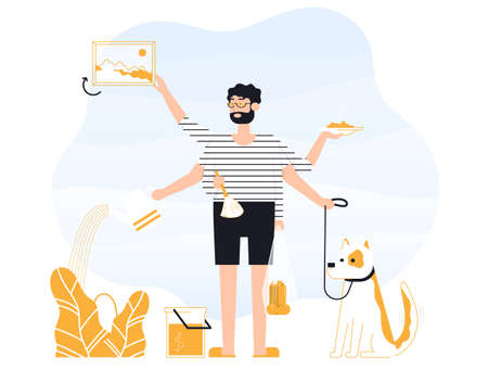 Man freelancer does several things at once time. He is holding bag and plate with food, walks the dogs, removes dust, hangs a picture, water the plant. Color vector flat cartoon icon