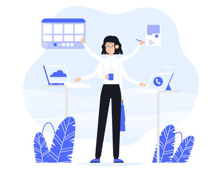 Businesswoman does several things at once time. He is holding bag, drink coffee, read documents and work on a laptop. Color vector flat cartoon icon