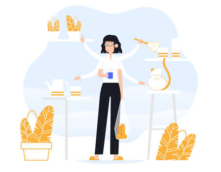 Businesswoman does several things at once time. He is holding bag, drink coffee, petting the cat, removes dust, water the plant. Color vector flat cartoon icon