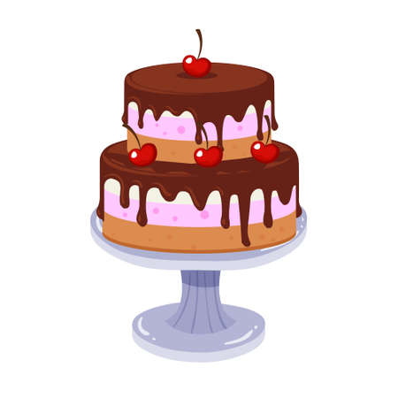 Birthday cake with chocolate cream and cherry. Vector flat color icon isolated on white.