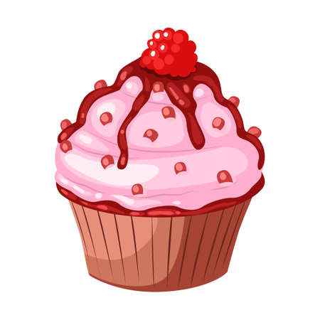 Cupcake with raspberry. Vector flat color icon. Isolated on white background.