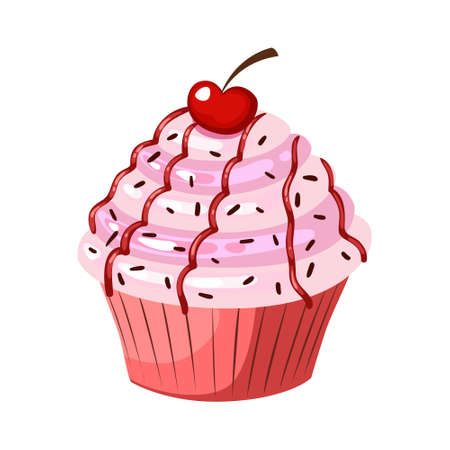 Cupcake with cherry. Vector flat color icon. Isolated on white background.