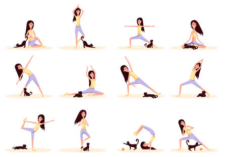 Woman with cat doing gymnastics. Set of poses standing and sitting yoga. Color vector flat cartoon illustration isolated on white.