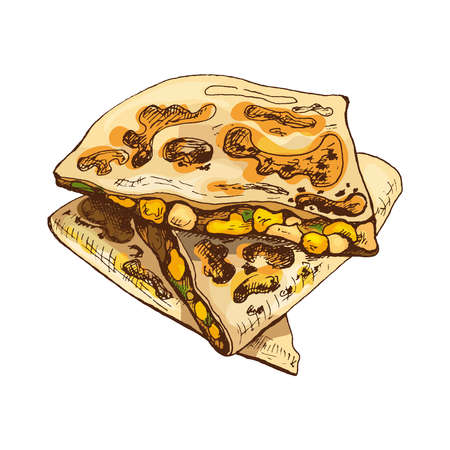 Quesadilla - mexican traditional food. Vector vintage hatching