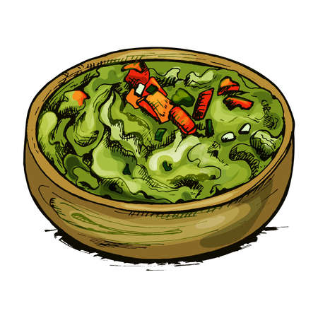 Quacamole in bowl - mexican traditional food. Vector flat color icon. Çizim