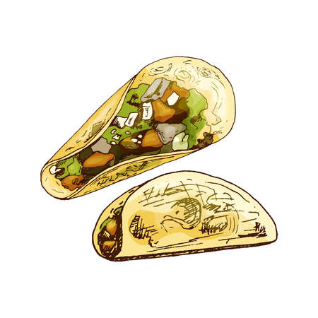 Taco - mexican traditional food. Vector vintage hatching