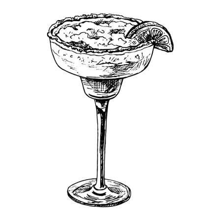 Alcohol classics cocktail margarita glass. Vector vintage hatching black illustration. Isolated on white background. Hand drawn design