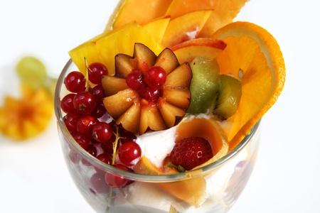 Ice cream with fruit Stock Photo