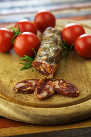 Italian salami with tomatoes and rosemary