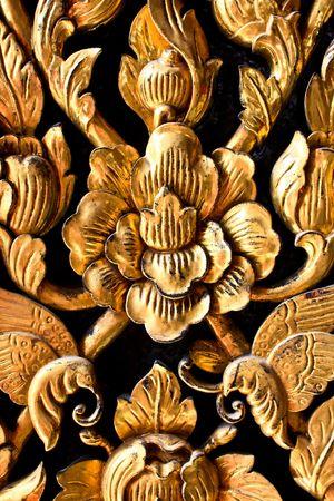 Thai Door wood carving  photo