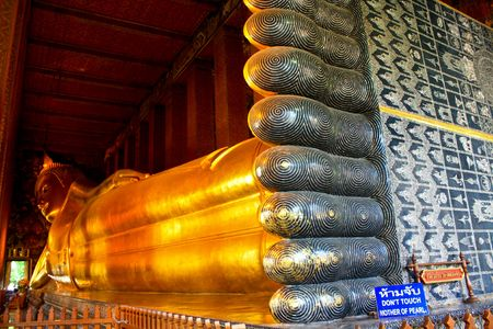 wat pho: Lying Golden Buddha in Wat Pho of Bangkok