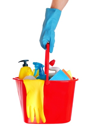 Plastic bucket with cleaning supplies on white background  Stock Photo