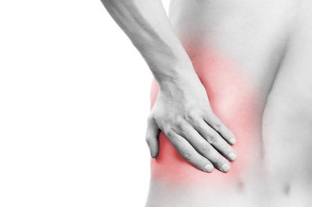 dolor muscular: Dolor de espalda aislado en blanco  Foto de archivo
