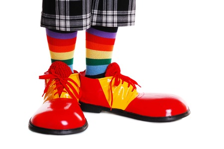 clown shoes on white background Stock Photo