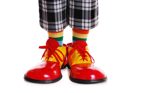 clown shoes: clown shoes on white background Stock Photo