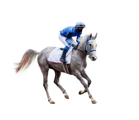 Pferdejockeyrennen isoliert auf weißem Hintergrund Standard-Bild