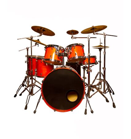 the drum set is red in lacquer isolated on a white background one piece