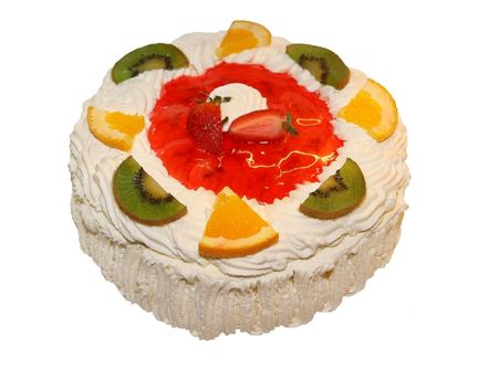 White cake with cream and fruit