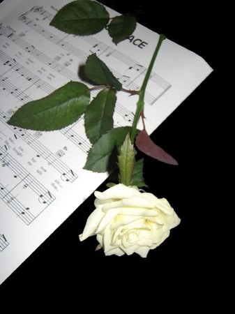 hymn: Psalm sheet music and rose