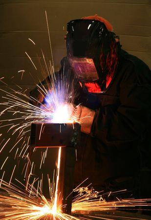 welding metal: Welding steel Stock Photo