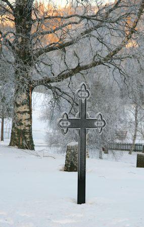 Cemetery in winter photo