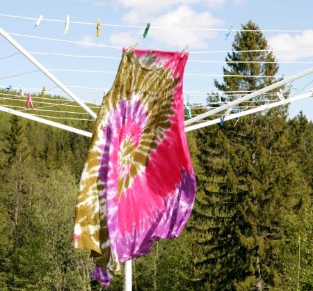 60s hippie: Hippie dress on a clothesline Stock Photo