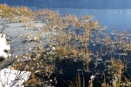 ice dam: Tarn freezing over Stock Photo