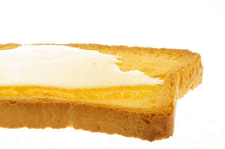 rusk and honey close-up with white background photo