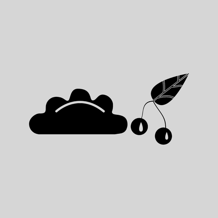 клецка: Flat in black and white dumpling with cherries